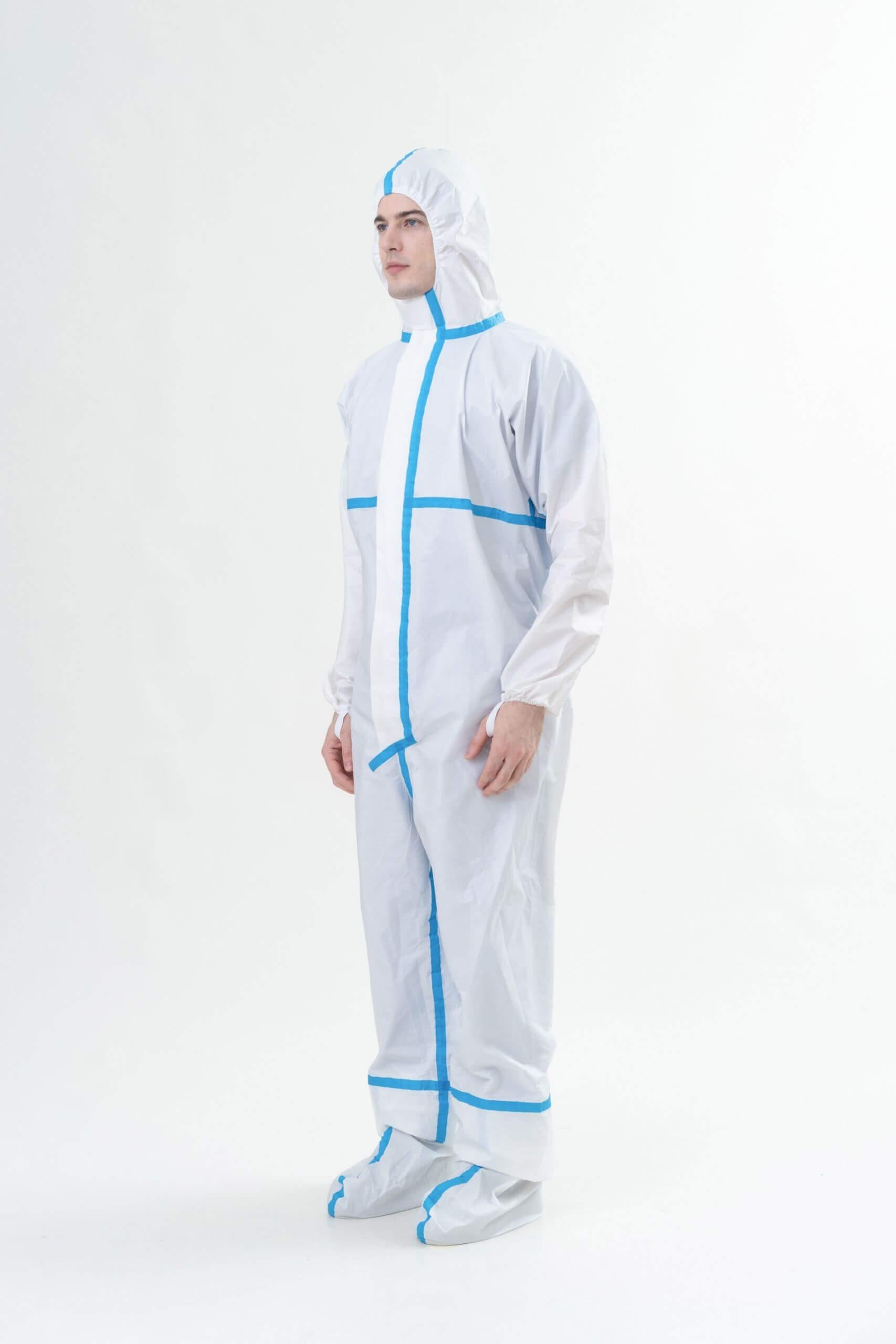 Disposable coverall with tape 拋棄式貼條防護衣代工製作-Medtecs美德醫療