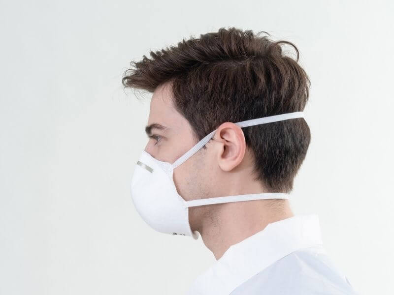 Medtecs N95 Face-mask Respirator side-view