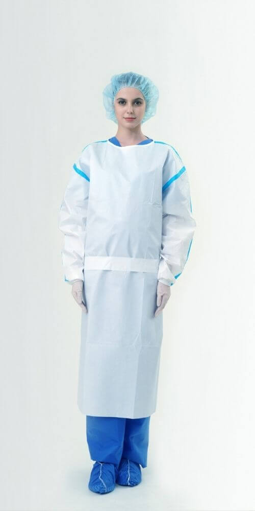 AAMI Level 4 PP+PE 63gsm Isolation Gowns with Tape